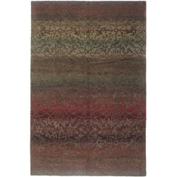 Nepalese Hand-knotted Mauve Divine Wool Rug (6' x 9')
