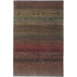 Nepalese Hand-knotted Mauve Divine Wool Rug (2'6 x 10')