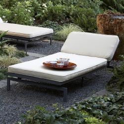 Alyssa Antique Beige Adjustable Outdoor Chaise with Sunbrella Fabric Cushion