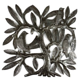 Recycled Steel Drum Tree of Life and Three East Birds Wall Art (Haiti)