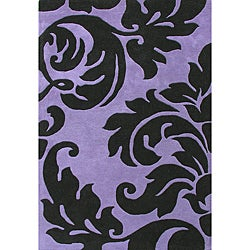 Alliyah Handmade Purple New Zealand Blend Wool Rug Wool Rug (8' x 10')