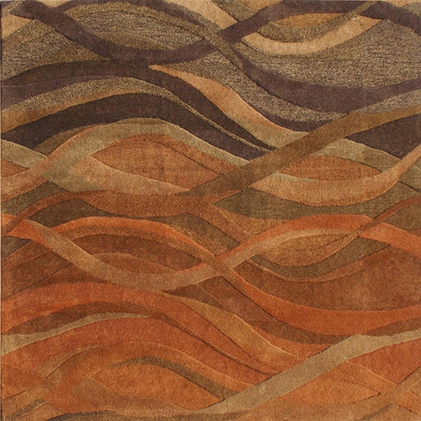 Alliyah Handmade Rust New Zealand Blend Wool Rug 6 X 6