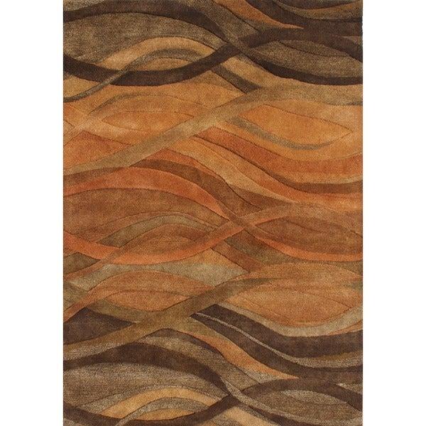 Alliyah Handmade Caramel, Autumn Leaf, Chipmunk, Brown, and Rust New Zealand Blend Wool Rug (9' x 12')