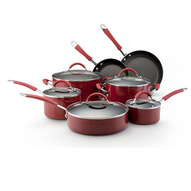 KitchenAid Porcelain Red 12-piece Nonstick Cookware Set