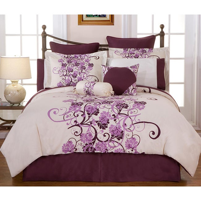 grapevine california king size 12 piece bed in a bag with sheet set