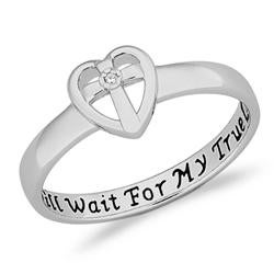 Limoges Sterling-Silver Polished Diamond Accent Purity Sentiment Ring