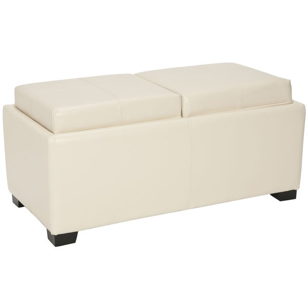 Safavieh Broadway Double Tray Flat Cream Leather Storage Ottoman