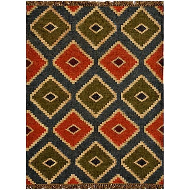 Transitional Hand-Woven Kilim Wool Rug (4' x 6')