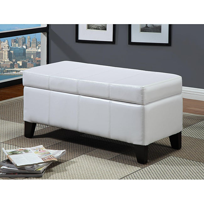 White Synthetic Leather Storage Bench with Wood Serving Tray