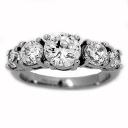 Oliveti Stainless Steel Clear Cubic Zirconia Engagement-style Ring