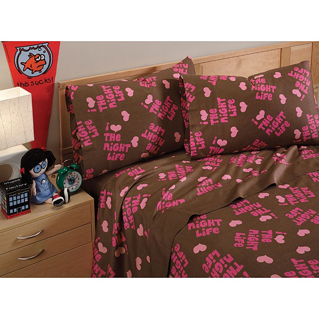 David and Goliath Night Life Cotton Sateen 300 Thread Count Queen-size Sheet Set