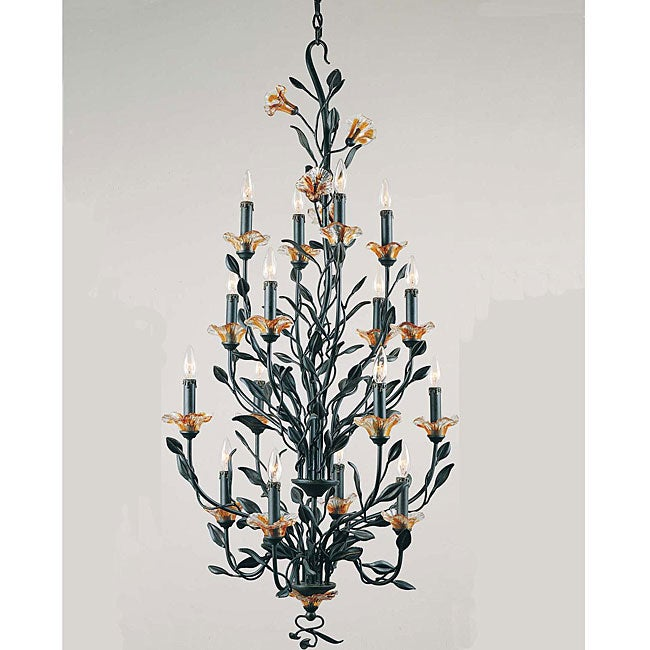 Amber Mist 16-light Blacksmith Bronze Chandelier