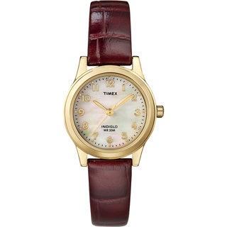 Timex Women's Burgundy Leather Strap Watch