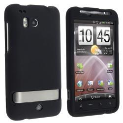 INSTEN Snap-on Black Rubber Coated Phone Case Cover for HTC ThunderBolt 4G