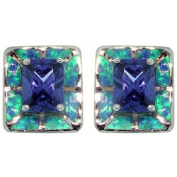 CGC Sterling Silver Created Opal and Cubic Zirconia Square Earrings