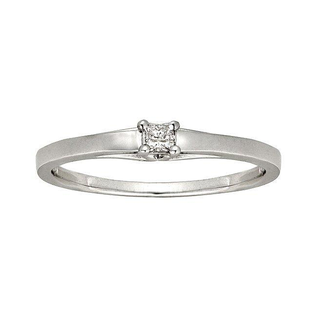 10k White Gold Diamond Accent Solitaire Princess Cut Promise Ring