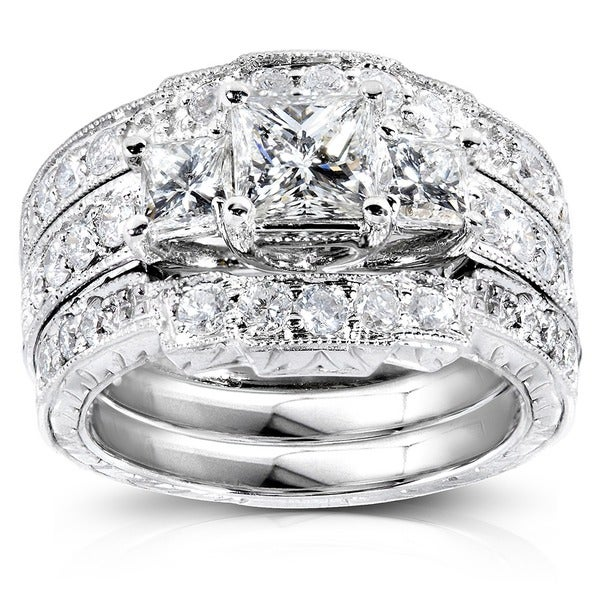 Annello 14k White Gold 1 7/8ct TDW Diamond 3-piece Bridal Rings Set (H-I, I1-I2)