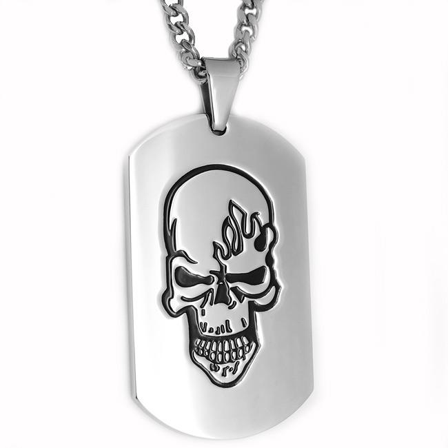 Oliveti Stainless Steel Black-plated Skull on Fire Dog Tag