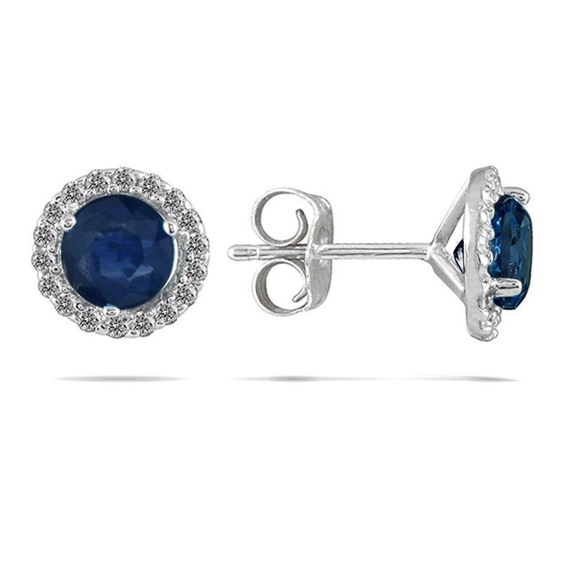 14k White Gold and Sapphire 1/5ct TDW Diamond Earrings (I-J, I1-I2)