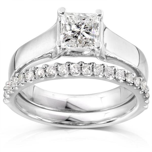 Annello 14k Gold 1 1/4ct TDW Princess Solitaire 2-Piece Diamond Bridal Set (H-I, I1-I2)