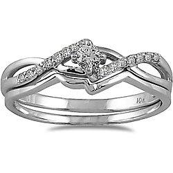 10k White Gold 1/6ct TDW 2-Piece Diamond Ring Set (I-J, I1-I2)