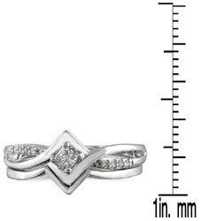 10k White Gold 1/6ct TDW 2-Piece Prong-set Diamond Ring Set (I-J, I1-I2)
