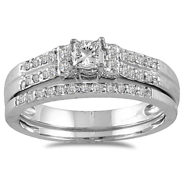 10k White Gold 2/5ct TDW Prong-set Diamond Bridal Ring Set (I-J, I1-I2)