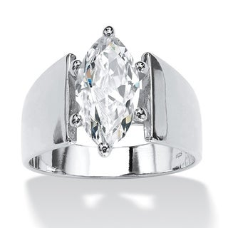 PalmBeach CZ Sterling Silver Marquise-cut Cubic Zirconia Ring Glam CZ