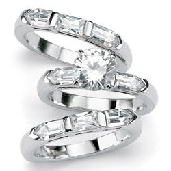 PalmBeach 5.31 TCW Round Cubic Zirconia Sterling Silver 3-Piece Bridal Engagement Ring Wedding Band Set Glam CZ