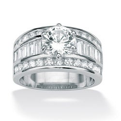 PalmBeach CZ Platinum over Sterling Silver Cubic Zirconia Engagement Ring Glam CZ