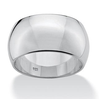 PalmBeach Polished 11 mm Wedding Band in Sterling Silver Sizes 7-12 Tailored