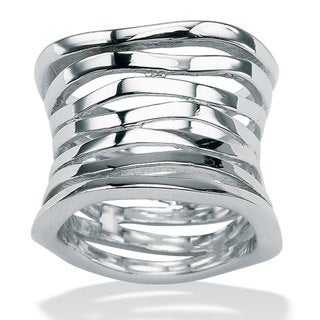 PalmBeach Sterling Silver Multi-tiered Band Tailored