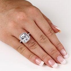 PalmBeach CZ Platinum over Silver Bezel-set Cubic Zirconia Ring Glam CZ