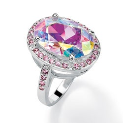 PalmBeach Sterling Silver AB and Pink Cubic Zirconia Ring Color Fun