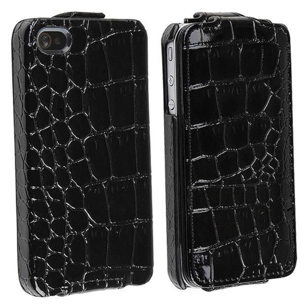 Black Crocodile Skin Pattern Leather Case for Apple iPhone 4