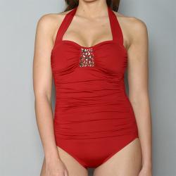 Jantzen Women's Embellished Ruched One-piece Swimsuit