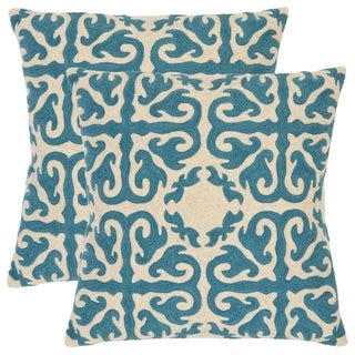 Safavieh Morrocan 18-inch Embroidered Blue Decorative Pillows (Set of 2)