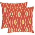 Safavieh Diamond Ikat 18-inch Red/ Ivory Decorative Pillows (Set of 2)