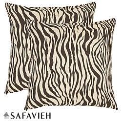 Safavieh Zebra 18-inch Brown/Ivory Decorative Pillows (Set of 2)
