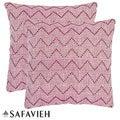 Safavieh Deco 22-inch Rose Red/ Purple Decorative Pillows (Set of 2)