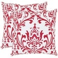 Safavieh Paris 22-inch Red/ White Decorative Pillows (Set of 2)