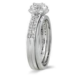 10k White Gold 1/2ct TDW Diamond Halo Bridal Ring Set (I-J, I1-I2)