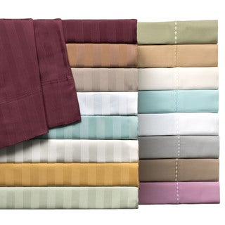 Delray Sateen Cotton Blend 600 Thread Count Striped 6-piece Sheet Set