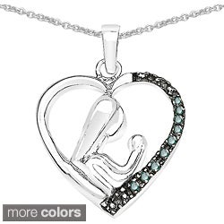 Malaika Sterling Silver 1/10ct TDW Diamond Adoring Parent Necklace (I-J, I2-I3)