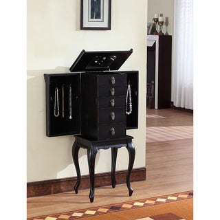 Ningbo Chinese Black MDF 4-drawer Jewelry Armoire with Mirrored Top