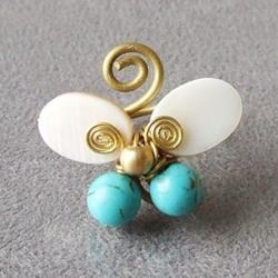 Brass Pearl Reconstructed Turquoise Butterfly Ring (7 mm) (Thailand)