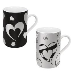 Konitz Silver Hearts Pattern Mugs (Set of 2)