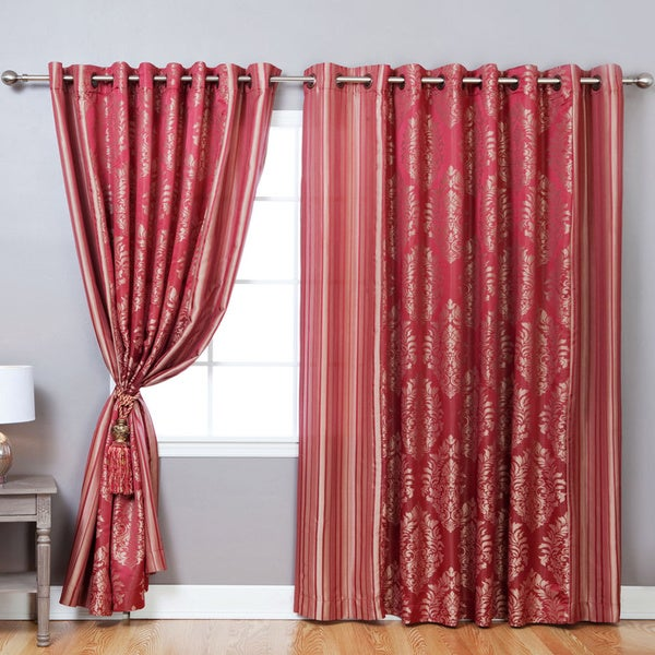 Lights Out Wide Width Damask Jacquard Grommet 84-inch Curtain Pair