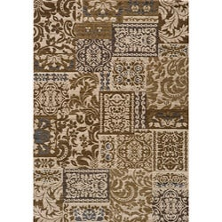 Dream Ivory Damask Blocks Geometric Rug (9'3 x 12'6)