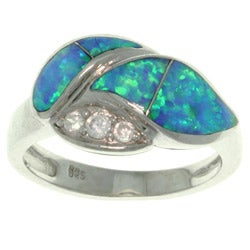CGC Sterling Silver Created Opal and Cubic Zirconia Laurel Leaf Ring